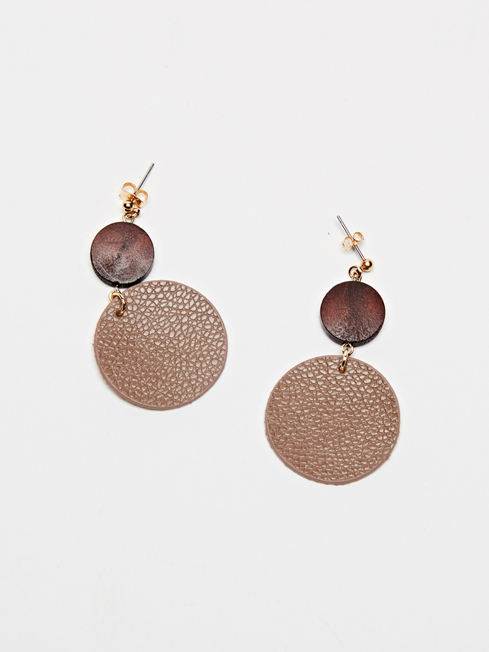 CIRCLE LEATHER EARRING (Mocha brown)