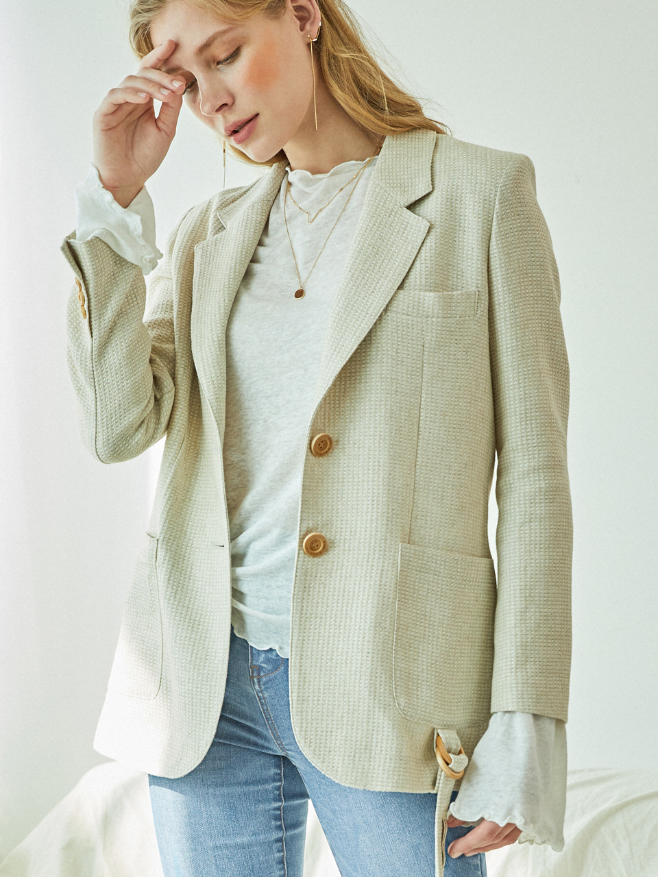 SOFT LINEN CHECK JACKET (CREAM IVORY)