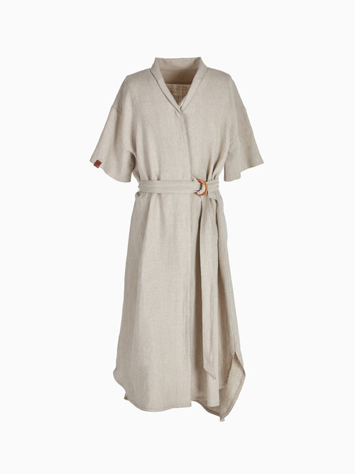 LINEN LONG ONE-PIECE (Beige)