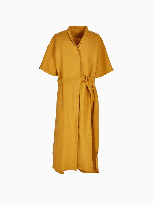 [Last 2 piece] LINEN LONG ONE-PIECE (Mustard)