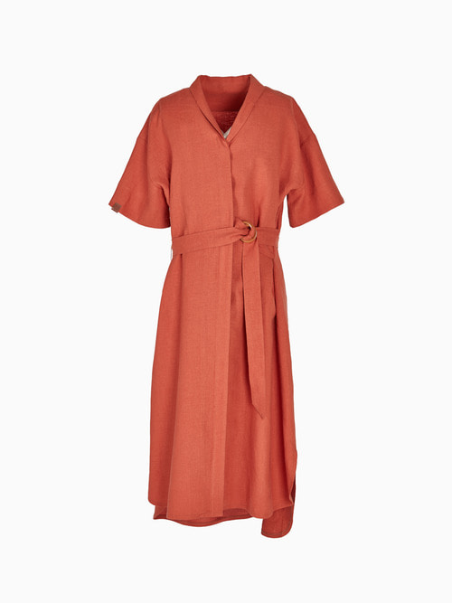 LINEN LONG ONE-PIECE (Orange)