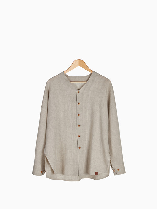 [Last 5 piece] LINEN V-NECK SHIRTS 남여공용 (Beige)