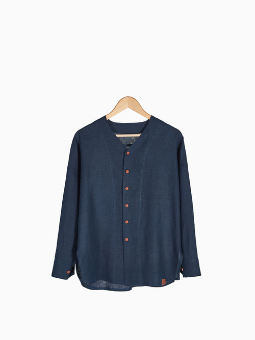 [Last 2 piece]LINEN V-NECK SHIRTS 남여공용 (Navy)