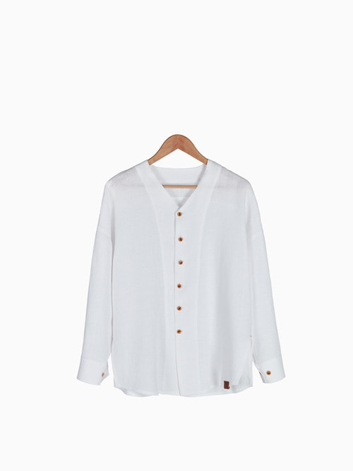 [Last 2 piece] LINEN V-NECK SHIRTS 남여공용 (White)