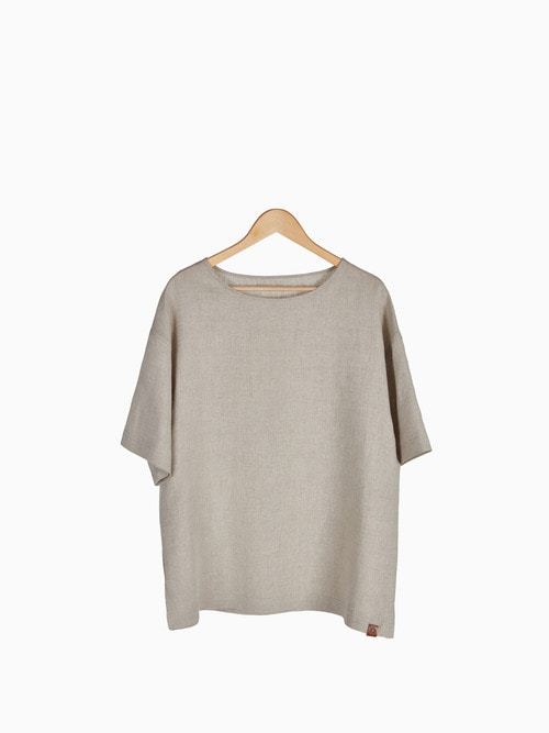 [Last 4 piece] LINEN SIMPLE T-SHIRTS 남여공용 (Beige)