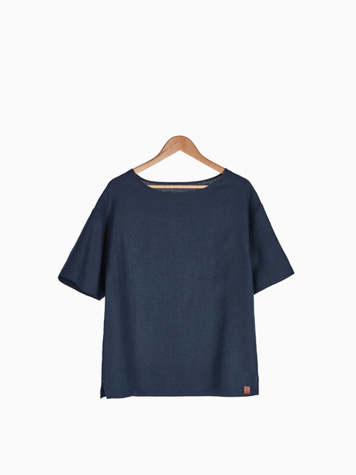 [Last 3 piece] LINEN SIMPLE T-SHIRTS 남여공용 (Navy)