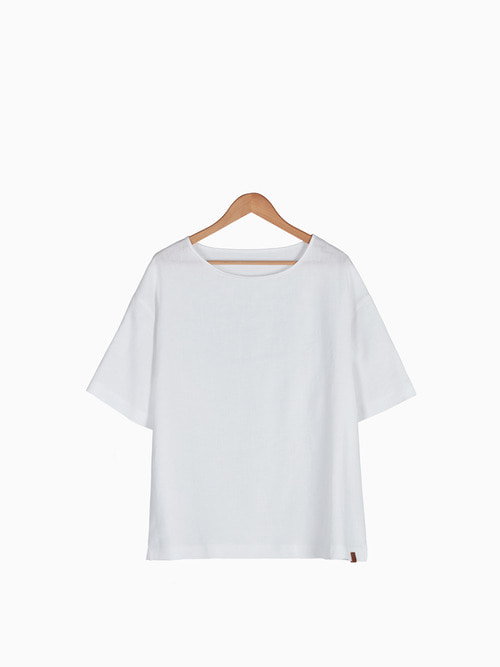 [Last 5 piece] LINEN SIMPLE T-SHIRTS 남여공용 (White)