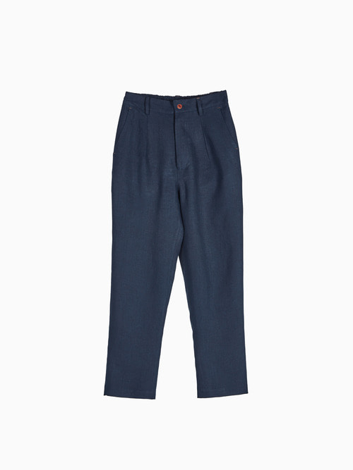 [Last 4 piece] LINEN NATURAL PANTS for WOMEN (Navy)