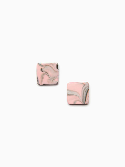 [예약배송 9/17 ~ 순차 출고] MARBLING CERAMIC EARRINGS (Indie pink black)