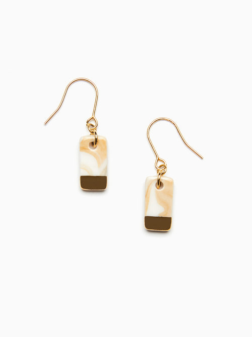 [예약배송 9/17 ~ 순차 출고] MARBLING LUSTER CERAMIC EARRINGS (Cream gold)