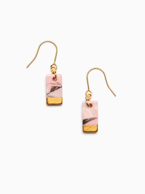 MARBLING LUSTER CERAMIC EARRINGS (Indie pink black)