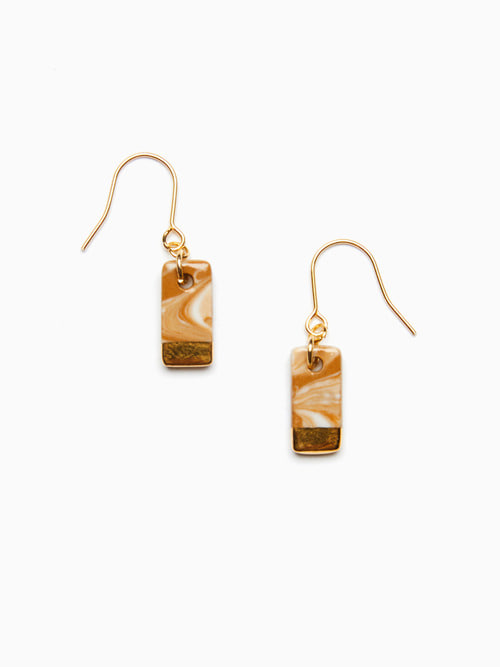 MARBLING LUSTER CERAMIC EARRINGS (Hazelnut Gold)
