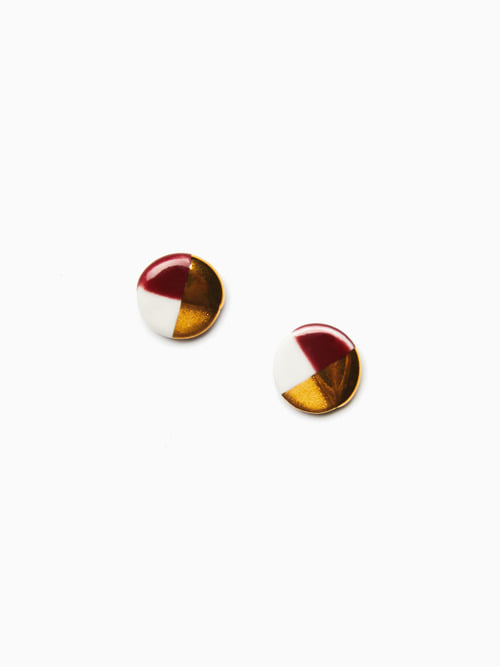 [예약배송 9/17 ~ 순차 출고] GOLD LUSTER BUTTON EARRINGS (Burgundy)