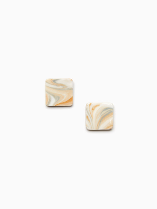 MARBLING CERAMIC EARRINGS (Cream brown)