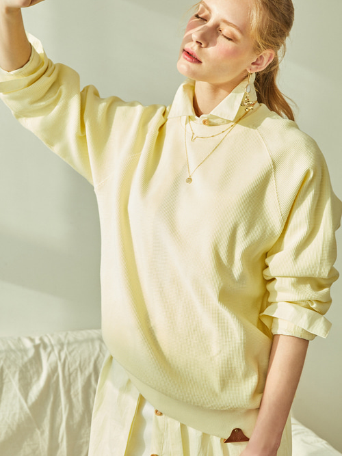 SOFT WAFFLE SWEAT SHIRTS (SOFT YELLOW)