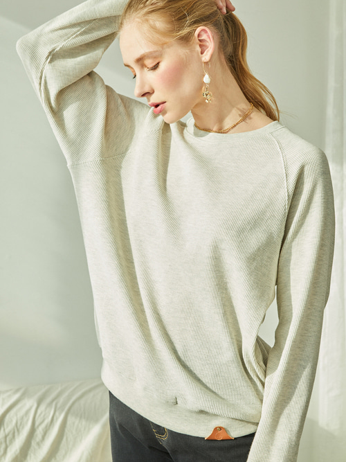 SOFT WAFFLE SWEAT SHIRTS (OAT-MEAL)