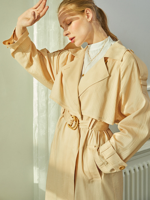 BREEZE TRENCH COAT (STRIPE BIEGE)