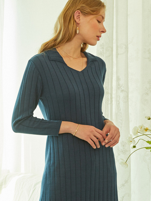 SOFT LONG KNIT DRESS (NAVY)