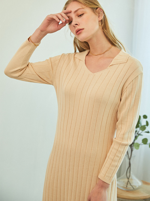 SOFT LONG KNIT DRESS (CREAM IVORY)